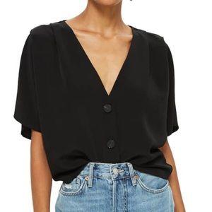 Topshop pleat shoulder blouse